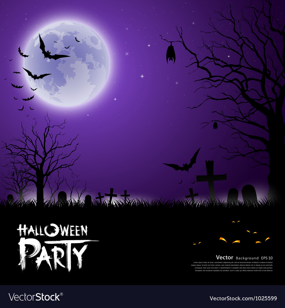 Happy halloween scary on purple background vector