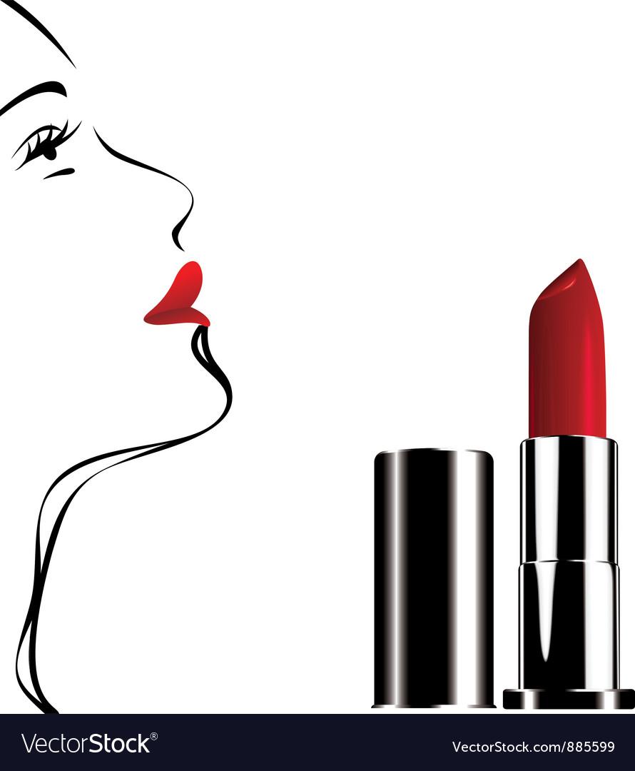 Lipstick white face vector | Price: 1 Credit (USD $1)