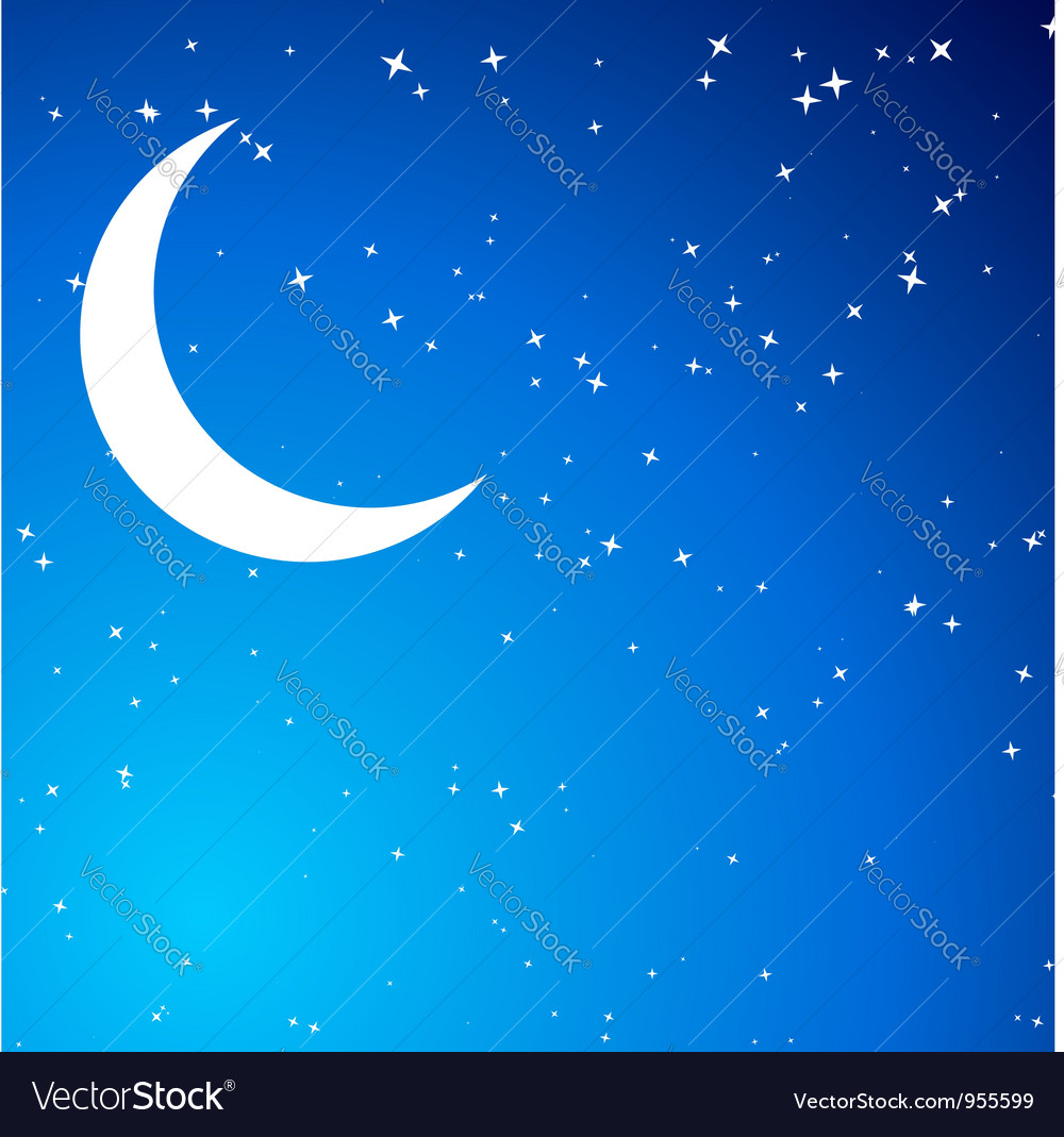 Night with moon vector | Price: 1 Credit (USD $1)