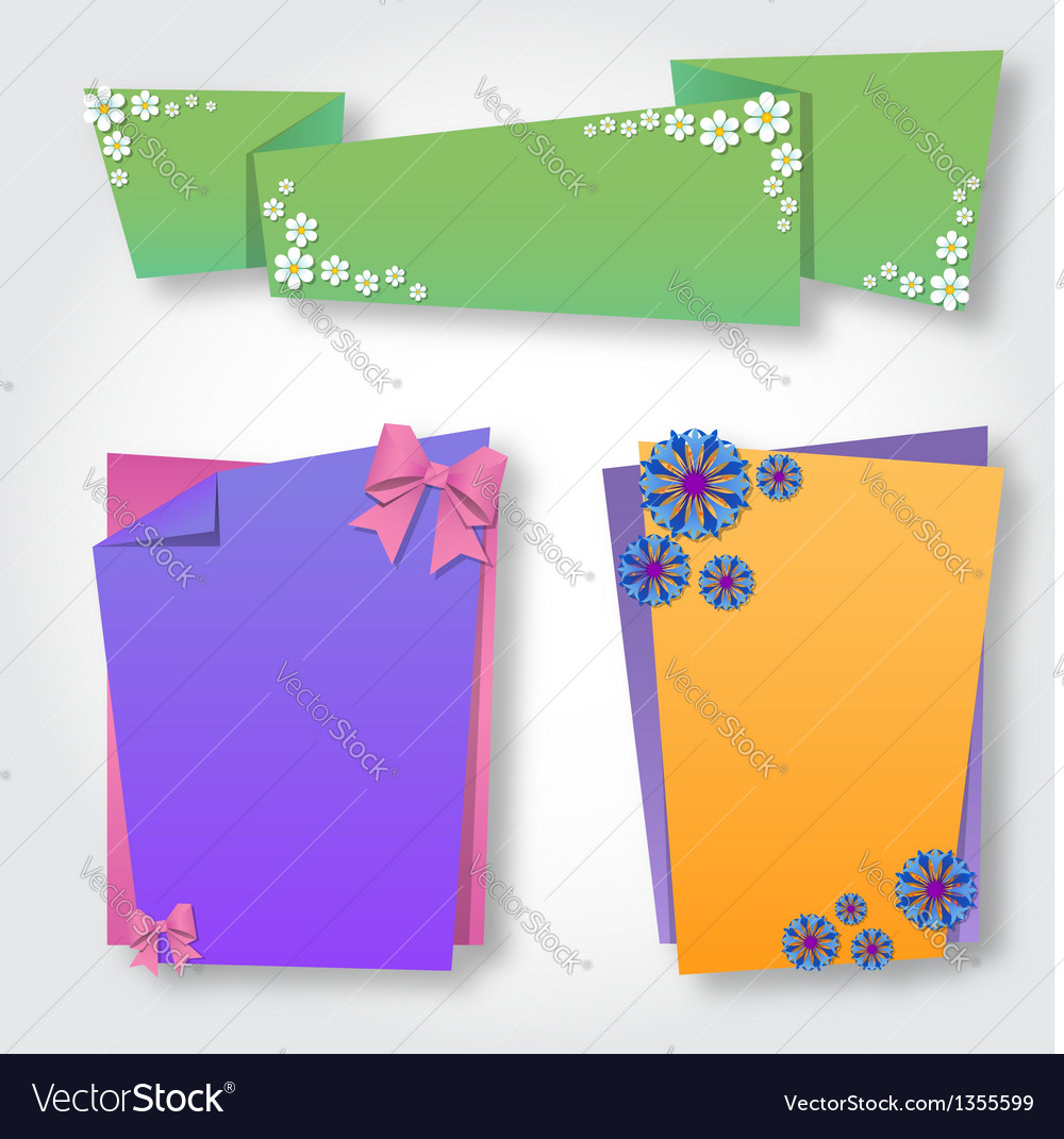 Origami notepaper folded note sheets with flowers vector | Price: 1 Credit (USD $1)