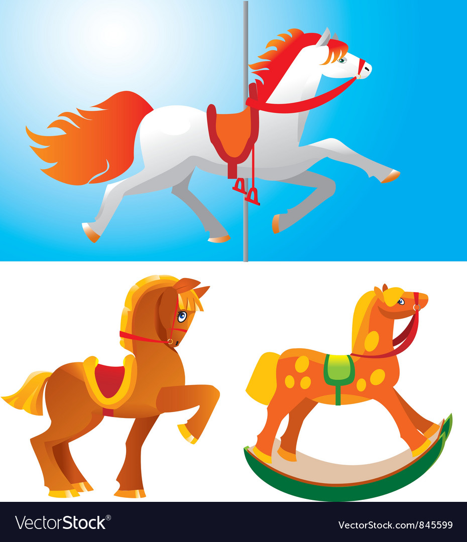 Set of toy horses vector | Price: 1 Credit (USD $1)