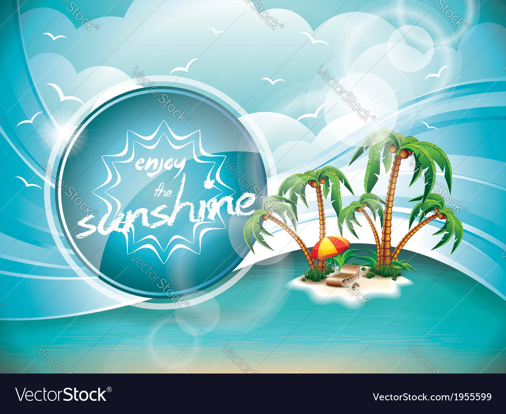 Summer holiday design with paradise island on blue vector | Price: 3 Credit (USD $3)
