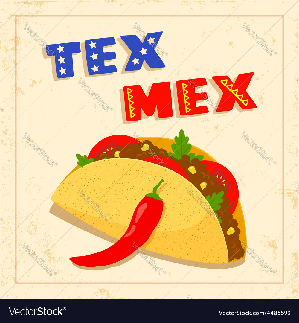 Tex mex taco on white background vector | Price: 1 Credit (USD $1)