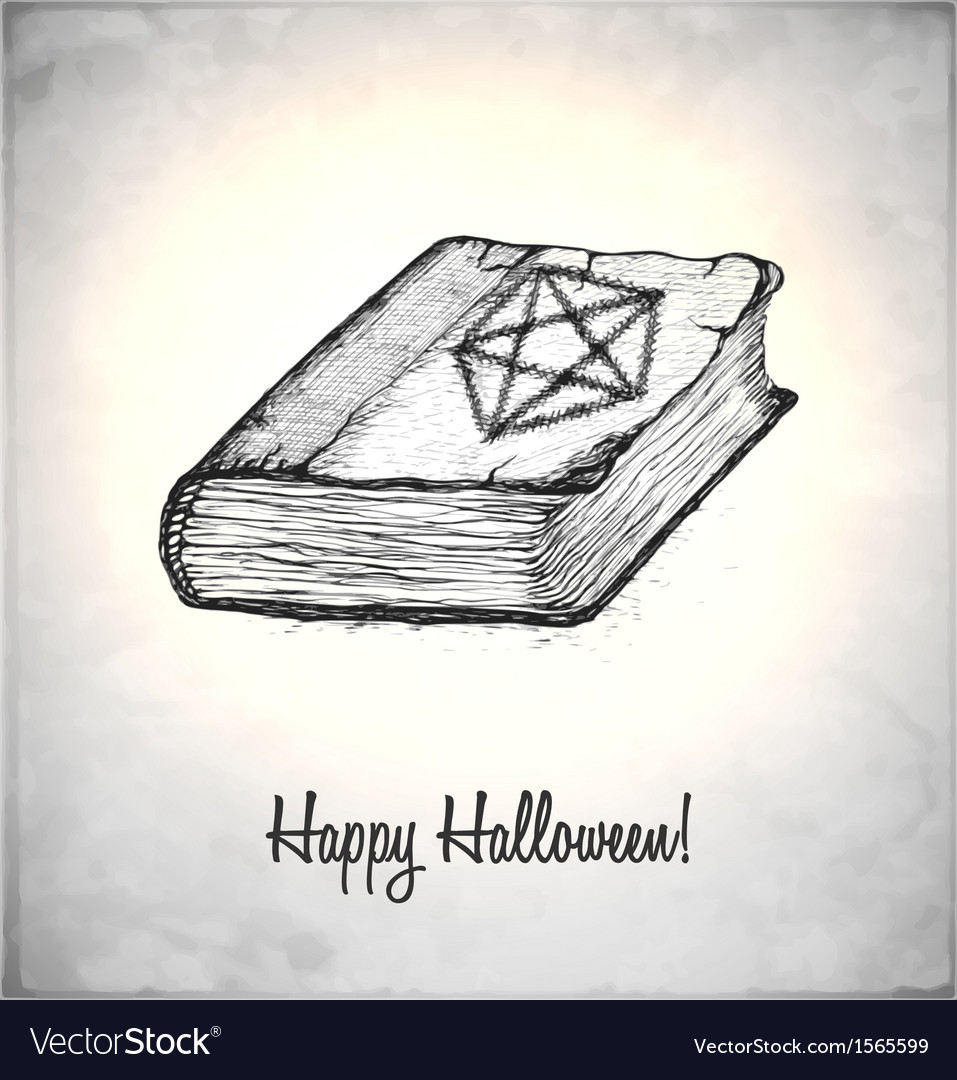 Witches book with spells in a sketch style vector | Price: 1 Credit (USD $1)