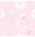 Baby seamless pattern with rabbit and butterfly vector