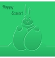 Easter bunny with eggs green paper background vector
