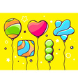 Festive set of colorful striped balloons vector