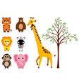 Various animals and tree vector