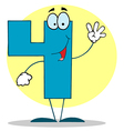 Funny cartoon friendly number 4 four guy vector