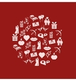 Valentine icons in circle vector