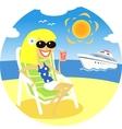 Girl on beach vector