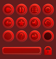 Mobile red elements for ui game - a set of play vector