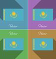 Flags kazakhstan set of colors flat design and vector