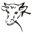 Smiling cow portrait sketch vector