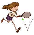 A simple sketch of a girl playing tennis vector