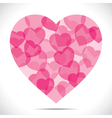 Pink heart make big heart shape vector