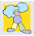 Figure in pastel colors with clouds vector