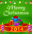 Ribbon 2014 and merry christmas gifts vector