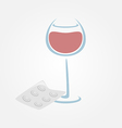 Wine and tablets minimal symbols headache from vector