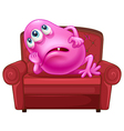 A couch with a pink monster vector