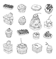 Set of cute cake contour vector
