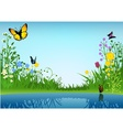 Small lake and butterflies vector