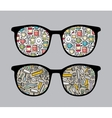 Retro sunglasses with tools reflection in it vector