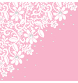 White guipure border with pearls on pink vector