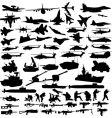Military icons silhouettes vector