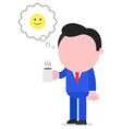 Happy businessman holding coffee mug vector