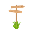 Wooden signboard for guidepost grass vector