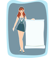 Girl with advertising banner vector