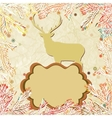 Vintage christmas deer pattern card vector