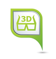 3d cinema glasses icon on green map pointer vector