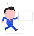 Running businessman holding sign vector