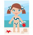 Little girl on a coast with a bucket vector