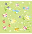 Spring green background with insects and flowers vector