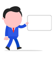 Walking businessman holding sign vector