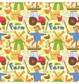 Seamless pattern farm elements in doodle style vector