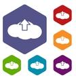 Upload rhombus icons vector