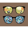 Retro sunglasses with owl reflection in it vector