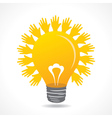 Hand make light beam around bulb vector