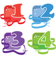 Four buttons with numbers vector