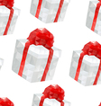 Polygonal red gift boxes seamless pattern design vector