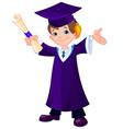 Boy graduates vector