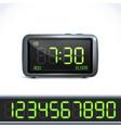 Digital alarm clock numbers vector