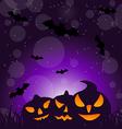 Halloween ominous pumpkins on moonlight background vector