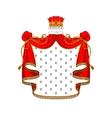 Royal red velvet mantle with golden crown vector