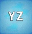 Doodle style hand drawn alphabet y-z vector