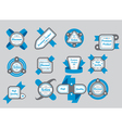 Collection of gray seals with blue ribbons vector